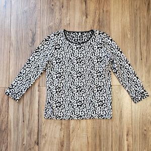 Ann Taylor Animal Print pullover Sweater Holiday